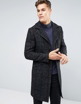 Sisley Wool Overcoat with Stripe Herringbone Detail