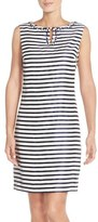Ellen Tracy Women's Striped Shantung Sheath Dress With Embellished Neckline