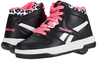 Heelys Reebok BB4500 Mid (Little Kid/Big Kid) (Black/Solar Pink/White) Girl's Shoes