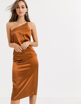 Little Mistress one shoulder satin slip dress in rust