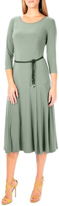 Nina Leonard 3/4 Sleeve Waist Belt Dress