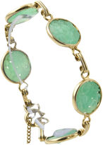 One Kings Lane Vintage Carved Floral Faux-Jade Gold Bracelet
