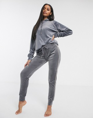Hunkemoller velour hoodie with piping in grey