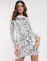 Asos Design DESIGN long sleeve mirror look embellished mini dress