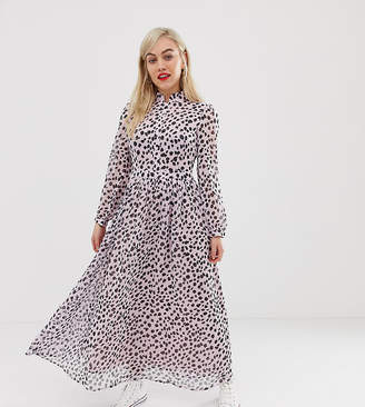 Glamorous Petite maxi dress with high neck in dalmatian print-Purple
