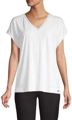 Calvin Klein Metallic-Trim V-Neck Tee