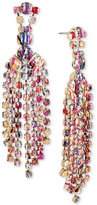 Betsey Johnson Gold-Tone Graffiti-Print Crystal Chandelier Earrings