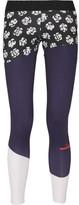 adidas by Stella McCartney Paneled Printed Climalite Stretch Leggings - Midnight blue
