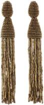 Oscar de la Renta Gold Long Beaded Tassel with Tube Earrings