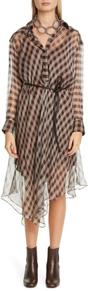 Brunello Cucinelli Bias Check Long Sleeve Silk Chiffon Shirtdress