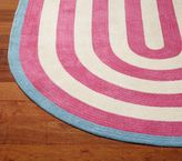 Pottery Barn Kids Capel Spiral Oval Rug 3x5 ' Bright Pink with Soft Green