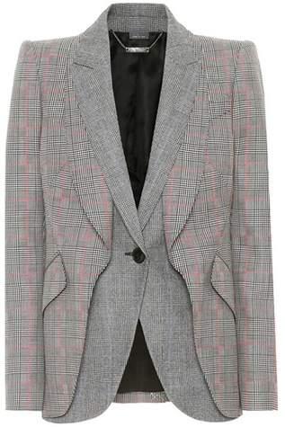 Alexander McQueen Wool-blend houndstooth blazer