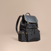 Burberry The Large Rucksack In Nylon And Riveted Leather, Black