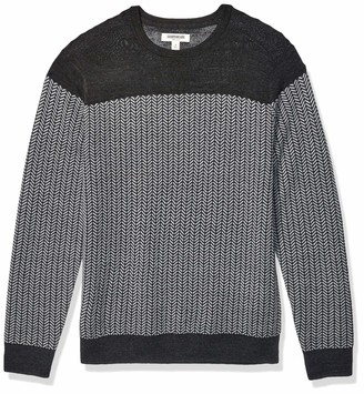 Goodthreads Amazon Brand Men's Lightweight Merino Wool/Acrylic Crewneck Herrinbone Sweater