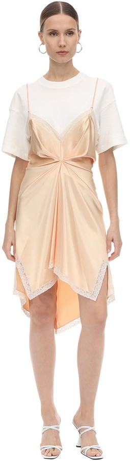 Alexander Wang Slit Cotton & Satin Mini Dress