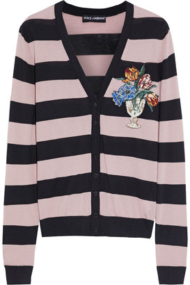 Dolce & Gabbana Embroidered Striped Cashmere Cardigan