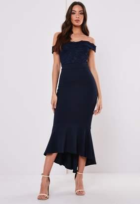 Missguided Petite Bridesmaid Navy Lace Bardot Fishtail Midi Dress