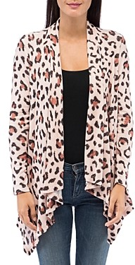 B Collection by Bobeau Amie Leopard Print Open Waterfall Cardigan