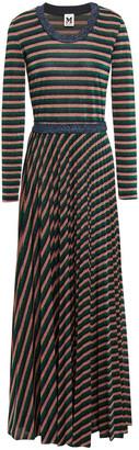 M Missoni Pleated Metallic Striped Knitted Maxi Dress