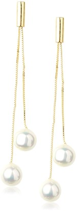 Kenneth Jay Lane Double Chain/White Pearl Drop Earring