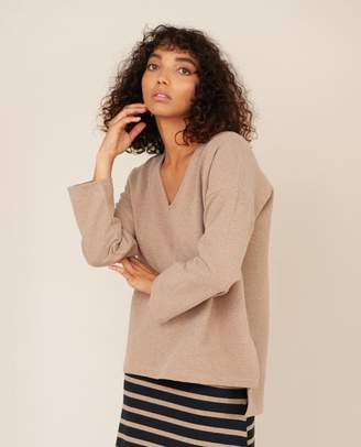 Beaumont Organic Willa Organic Cotton Top In Stone Marl - Stone Marl / Extra Small