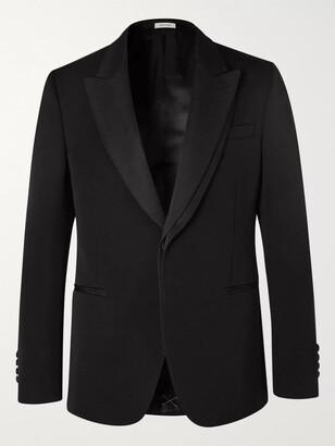 Alexander McQueen Black Slim-Fit Silk Grosgrain-Trimmed Wool-Barathea Blazer