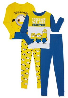 Minions Boys Cotton Long Sleeve Top and Long Pants, 4-Piece Pajama Set, Sizes 4-10