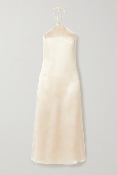 Reformation Net Sustain Reggie Silk-satin Halterneck Midi Dress - Ivory