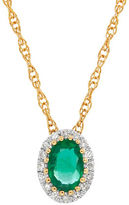 Lord & Taylor Emerald, Diamond and 14K Yellow Gold Pendant Necklace