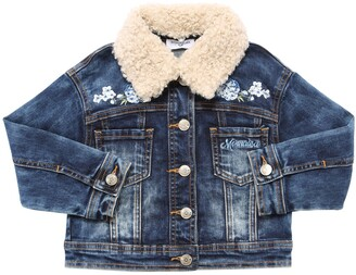 MonnaLisa Faux Shearling Stretch Denim Jacket