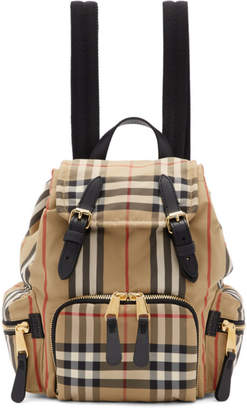 Burberry Beige Small Heritage Check Rucksack