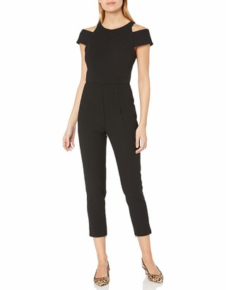 ABS by Allen Schwartz Women's Jumpsuit with Cut Out Shoulders in Crepe Woven