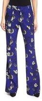 Prabal Gurung Flare-Leg Floral-Print Trousers, Cobalt