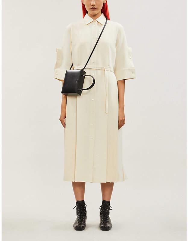 Jil Sander Lourdes pleated wool and silk-blend shirt midi dress