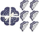 Kim Seybert Set of 6 FÃate Coasters - White/Navy