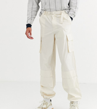 ASOS Tall wide leg cargo pants in beige