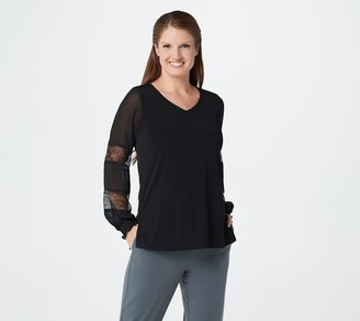 Susan Graver Liquid Knit Top with Sheer Chiffon and Lace Sleeves