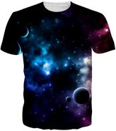Uideazone Men's Cool Universe Planet Pattern T-shirt Crewneck Graphic Tee