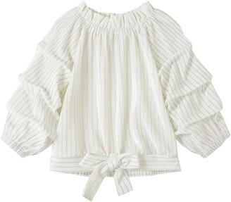 Habitual Kids' Puff Sleeve Stripe Velour Top
