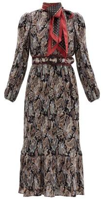 Zimmermann Ladybeetle Pleated Floral-print Georgette Dress - Black Multi