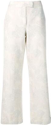 Salvatore Ferragamo Pre Owned 1990's floral print wide-leg trousers