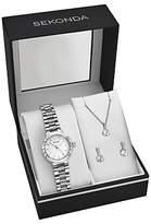 Sekonda 2351G.76 Women's Bracelet Strap Watch, Pendant Necklace and Earrings Gift Set, Silver