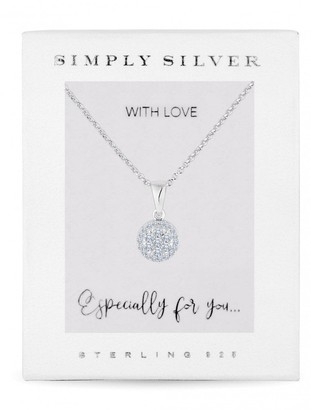 Simply Silver Sterling Silver 925 Cubic Zirconia Pave Round Pendant