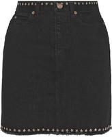 Saint Laurent Embellished denim mini skirt