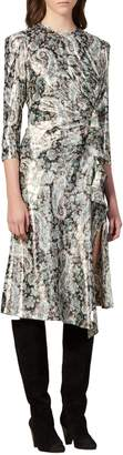 Sandro Merav Draped Lurex Jacquard Midi A-Line Dress