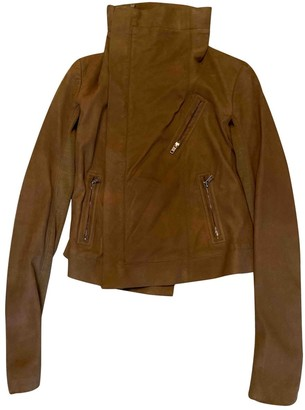 Rick Owens Camel Suede Leather Jacket for Women