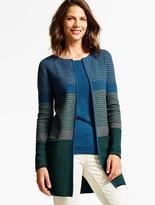 Talbots Double-Knit Ribbed Stripe Cardigan