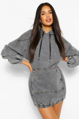 boohoo Hooded Denim Pullover Dress
