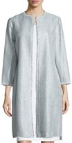 Kay Unger New York Long Tweed Coat, Sky Blue