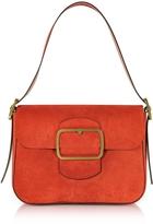 Tory Burch Sawyer Red Suede Shoulder Bag